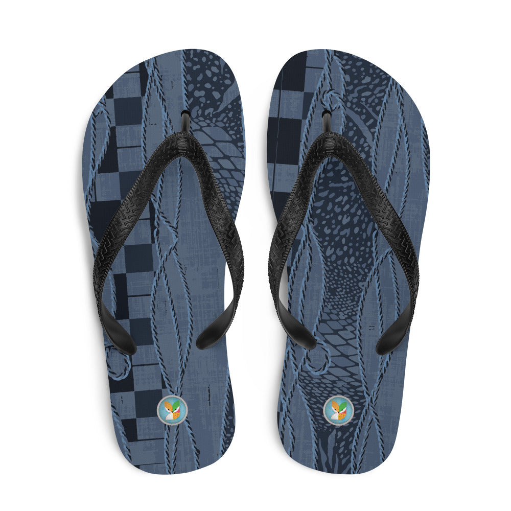 Blue and Black Pattern - Flip-Flops