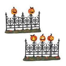 Load image into Gallery viewer, Jack-O-Lantern Lit Fence S/2