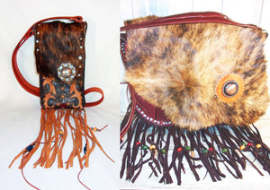 hair on hide leather cross-body purses with fringe