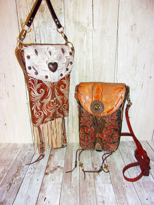 Unique Leather Cross-Body Hipster Messenger Cowboy Boot Purse