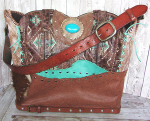 Extra Large Unique Leather Totes made from Cowboy Boots