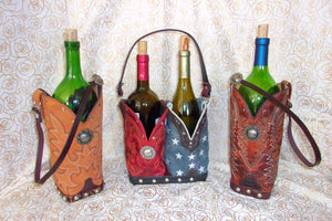 As Featured In Cowgirl Magazine Leather Cowboy Boot Wine Tote Barware