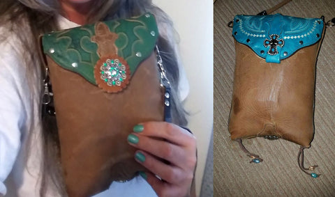 cowboy boot purses made from your cowboy boots, custom made handbags and purses