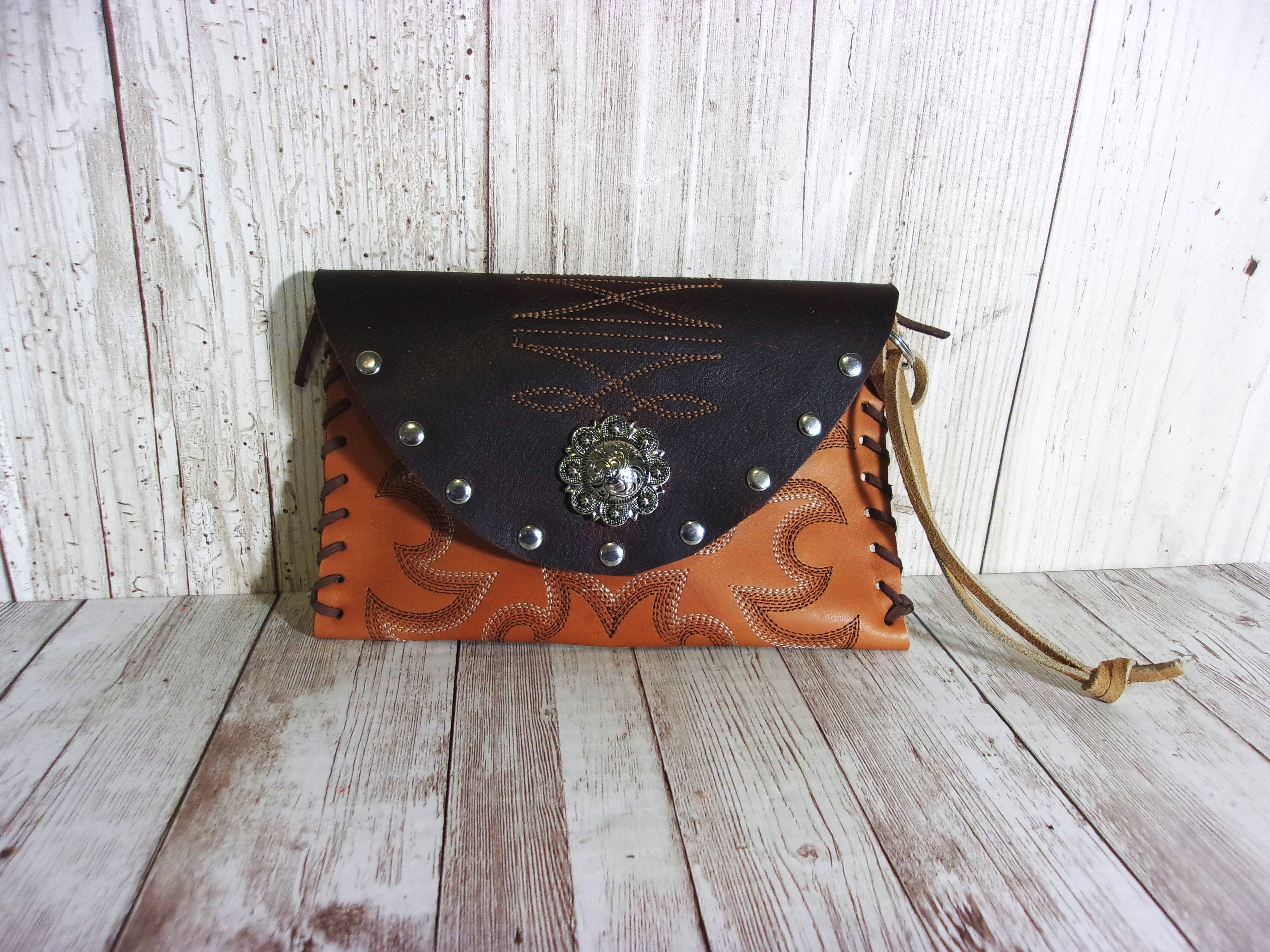 Leather Wristlet - Cowboy Boot Wallet - Handcrafted Leather Wristlet  WR16 cowboy boot purses and handcrafted western purses and handbags Chris Thompson Bags
