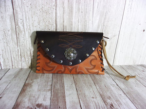 Leather Wristlet Cowboy Boot Wallet  WR16 - handcrafted handbags - cowboy boot purses - western purses - western handbags - western conceal carry purses - unique swing arm bags - Chris Thompson Bags