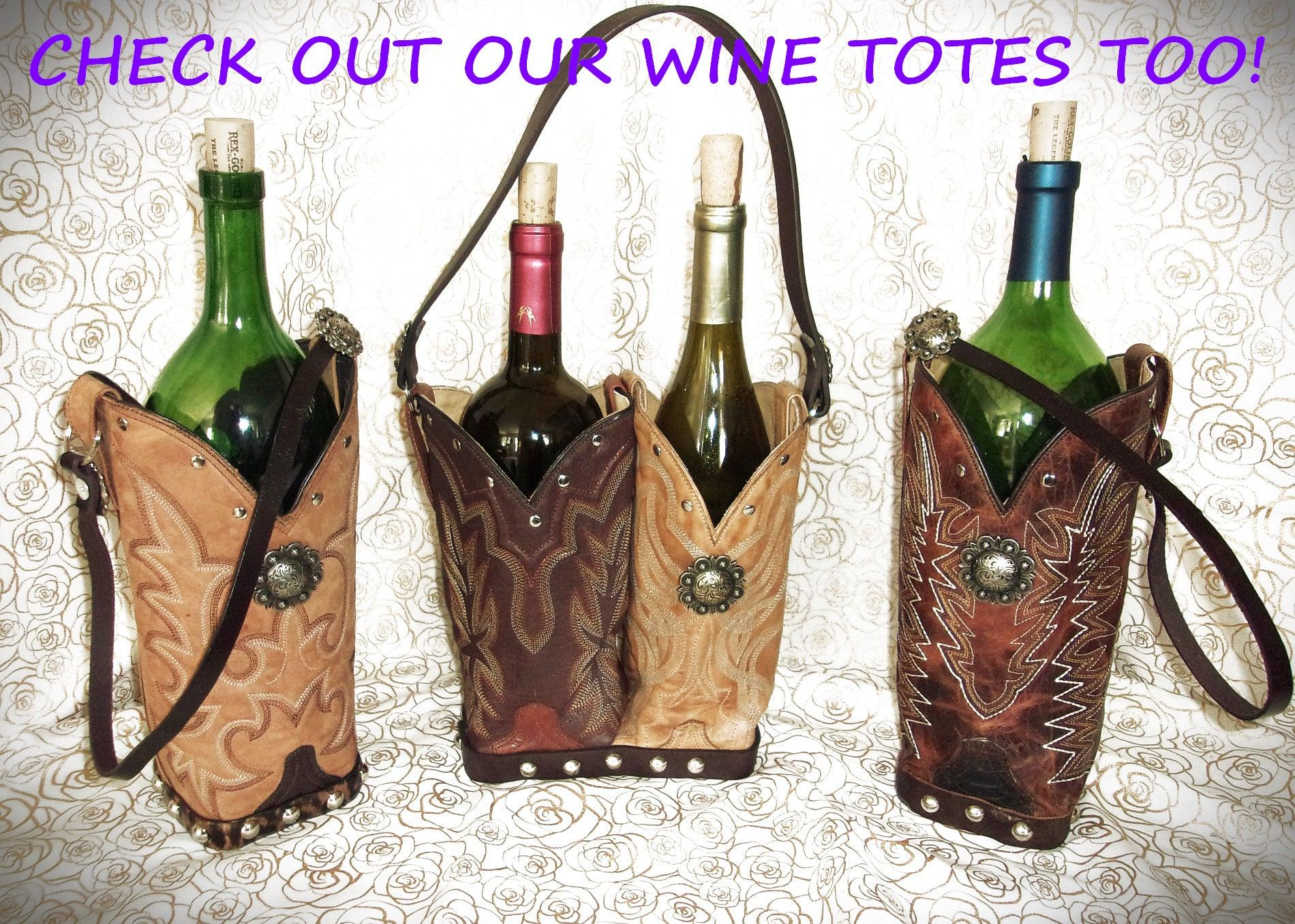 Leather Whiskey Tote CR62 - Cowboy Boot Purses by Chris Thompson for Distinctive Western Fashion