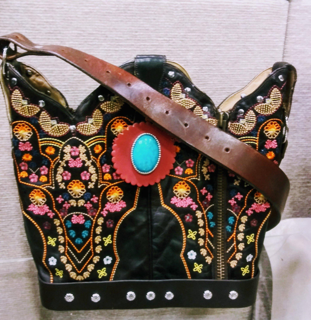 Cowboy Boot Purse - Handcrafted Western Handbag - Leather Western Purse BK35 cowboy boot purses, western fringe purse, handmade leather purses, boot purse, handmade western purse, custom leather handbags Chris Thompson Bags