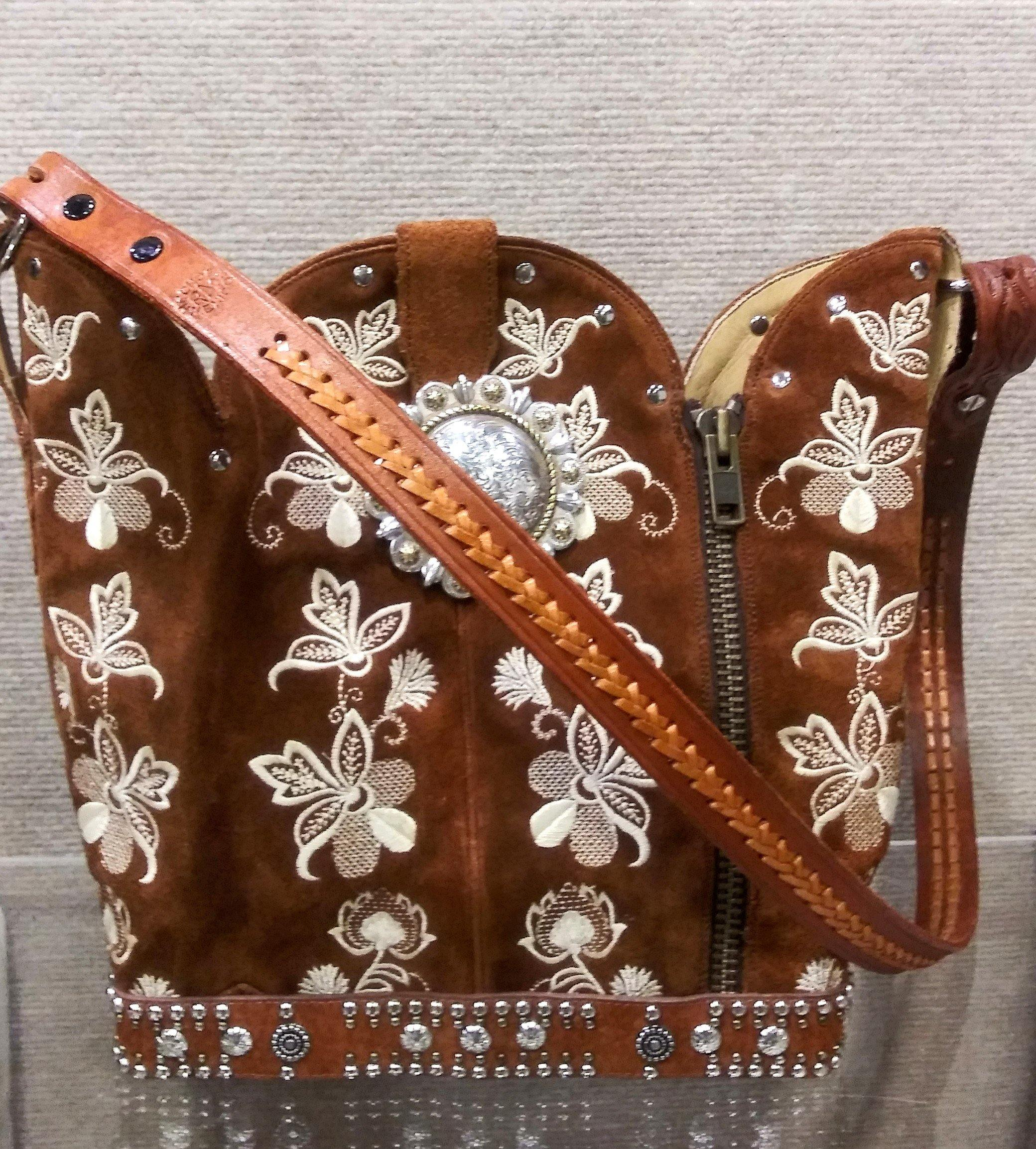Cowboy Boot Purse - Handcrafted Western Handbag - Leather Western Purse BK36 cowboy boot purses, western fringe purse, handmade leather purses, boot purse, handmade western purse, custom leather handbags Chris Thompson Bags