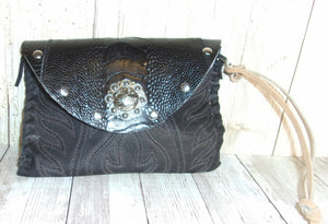 Leather Wristlet Cowboy Boot Wallet  WR23 - handcrafted handbags - cowboy boot purses - western purses - western handbags - western conceal carry purses - unique swing arm bags - Chris Thompson Bags