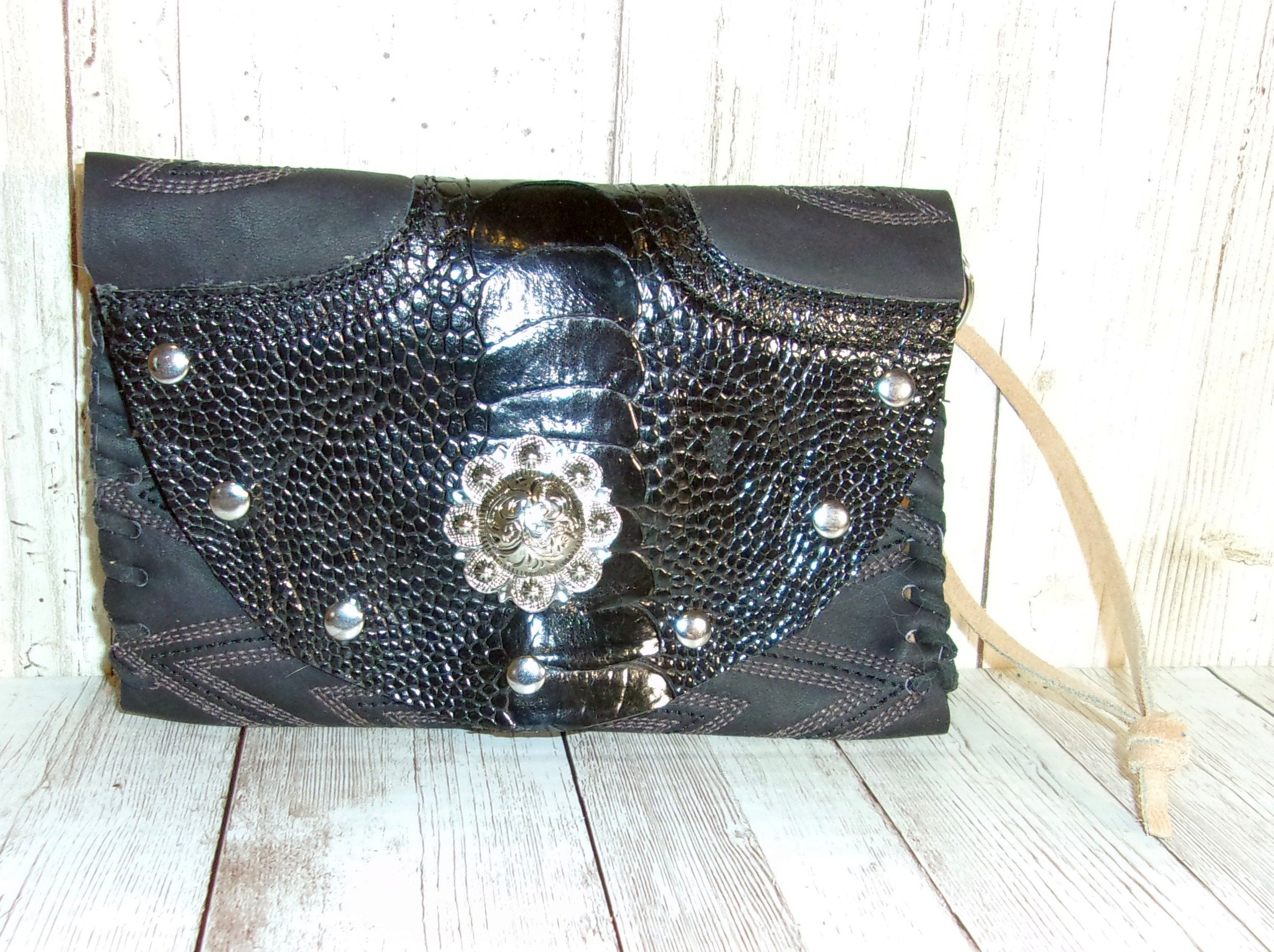 Leather Western Wristlet - Cowboy Boot Wallet - Handcrafted Leather Wristlet  WR26 cowboy boot purses and handcrafted western purses and handbags Chris Thompson Bags