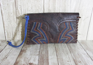 Leather Wristlet - Cowboy Boot Wallet - Handcrafted Leather Wristlet  WR29 cowboy boot purses, western fringe purse, handmade leather purses, boot purse, handmade western purse, custom leather handbags Chris Thompson Bags