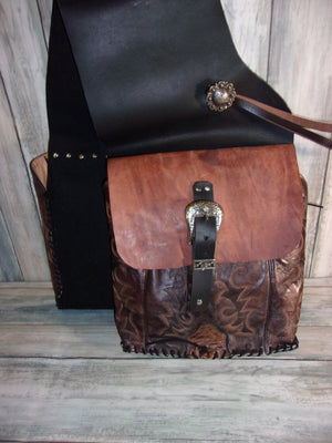 Distressed Two-Tone Saddle-Bags - Distinctive Western Handbags, Purses and Totes