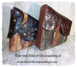 Unique Handcrafted Motorcycle Bags made from Cowboy Boots cowboy boot purses, western fringe purse, handmade leather purses, boot purse, handmade western purse, custom leather handbags Chris Thompson Bags
