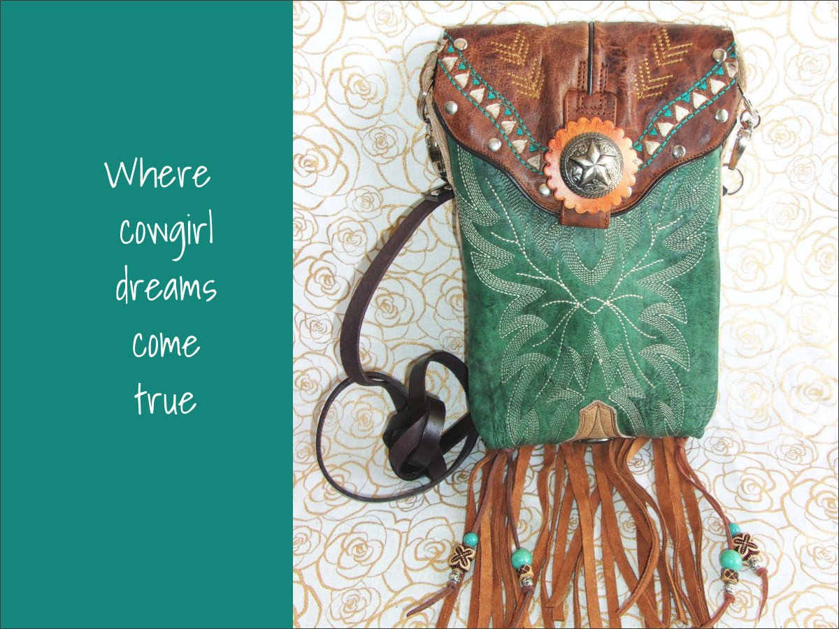 Unique Handcrafted Cross-Body Bags from $129 cowboy boot purses, western fringe purse, handmade leather purses, boot purse, handmade western purse, custom leather handbags Chris Thompson Bags