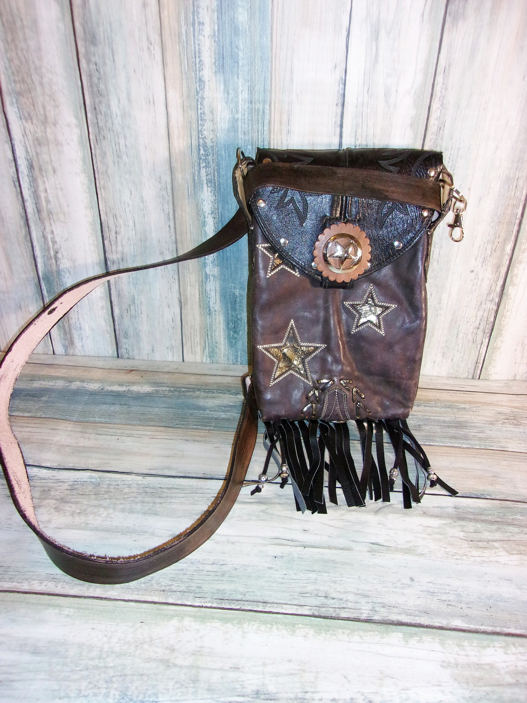 Thigh-Tie Cross-Body Bag with Fringe BB03 - Distinctive Western Handbags, Purses and Totes