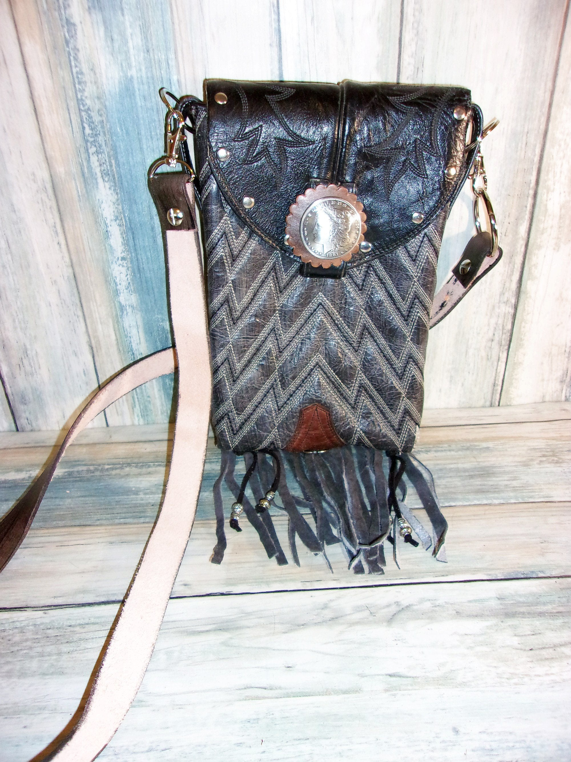 Biker Thigh Purse - Biker Crossbody Bag - Cowboy Boot Purse - Convertible Purse BB04 - handcrafted handbags - cowboy boot purses - western purses - western handbags - western conceal carry purses - unique swing arm bags - Chris Thompson Bags