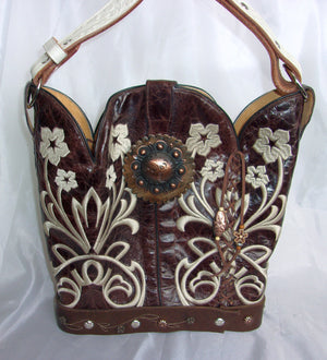 Cowboy Boot Bucket Bag BK09 - Cowboy Boot Purses by Chris Thompson for Distinctive Western Fashion