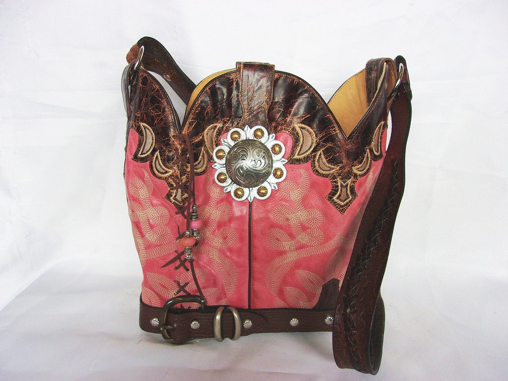 Cowboy Boot Purse Bucket Bag BK16 - Unique Leather Handbags and Totes by Chris Thompson