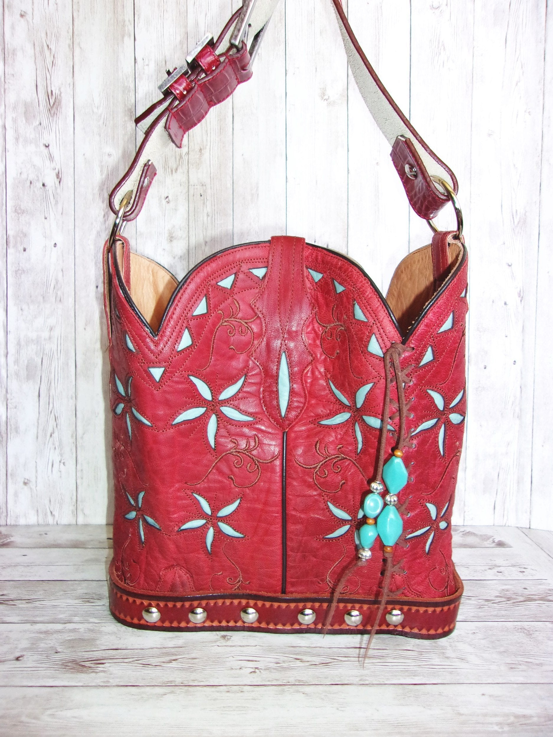 Cowboy Boot Purse Bucket Bag BK19 - Cowboy Boot Purses by Chris Thompson for Distinctive Western Fashion