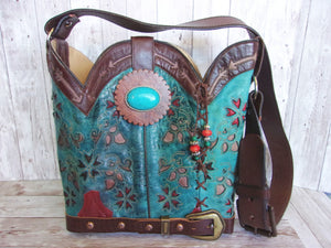 Cowboy Boot Purse Bucket Bag BK23 - Cowboy Boot Purses by Chris Thompson for Distinctive Western Fashion