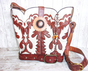 Cowboy Boot Purse Bucket Bag BK24 - Cowboy Boot Purses by Chris Thompson for Distinctive Western Fashion