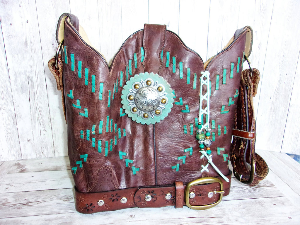 Cowboy Boot Purse Bucket Bag BK29 - Cowboy Boot Purses by Chris Thompson for Distinctive Western Fashion