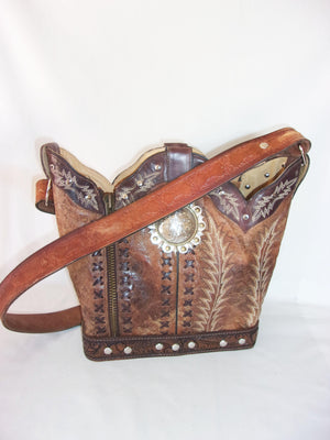 Cowboy Boot Purse - Handcrafted Western Handbag - Leather Western Purse BK33 cowboy boot purses, western fringe purse, handmade leather purses, boot purse, handmade western purse, custom leather handbags Chris Thompson Bags