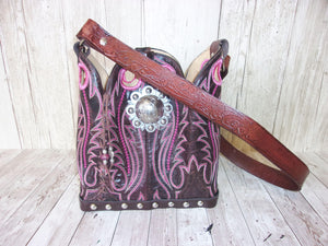 Cowboy Boot Purse - Handmade Leather Purse - Western Leather Purse BK37 cowboy boot purses, western fringe purse, handmade leather purses, boot purse, handmade western purse, custom leather handbags Chris Thompson Bags