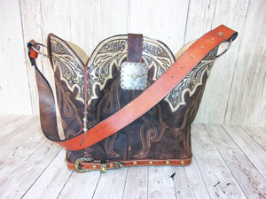 Cowboy Boot Purse - Handmade Leather Purse - Western Leather Purse BK41 cowboy boot purses, western fringe purse, handmade leather purses, boot purse, handmade western purse, custom leather handbags Chris Thompson Bags