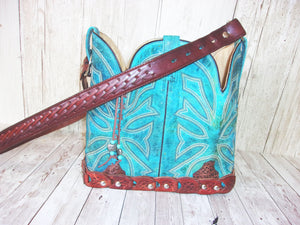 Cowboy Boot Purse - Handmade Leather Purse - Western Leather Purse BK42 cowboy boot purses, western fringe purse, handmade leather purses, boot purse, handmade western purse, custom leather handbags Chris Thompson Bags