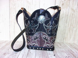 Cowboy Boot Purse - Handmade Leather Purse - Western Leather Purse BK43 cowboy boot purses, western fringe purse, handmade leather purses, boot purse, handmade western purse, custom leather handbags Chris Thompson Bags