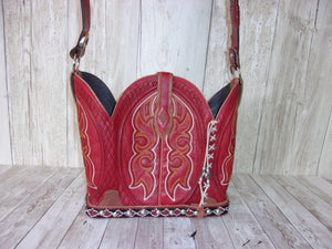 Cowboy Boot Purse - Handmade Leather Purse - Western Leather Purse BK47 cowboy boot purses, western fringe purse, handmade leather purses, boot purse, handmade western purse, custom leather handbags Chris Thompson Bags