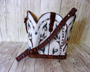 Cowboy Boot Purse - Handmade Leather Purse - Western Leather Purse BK52 cowboy boot purses, western fringe purse, handmade leather purses, boot purse, handmade western purse, custom leather handbags Chris Thompson Bags