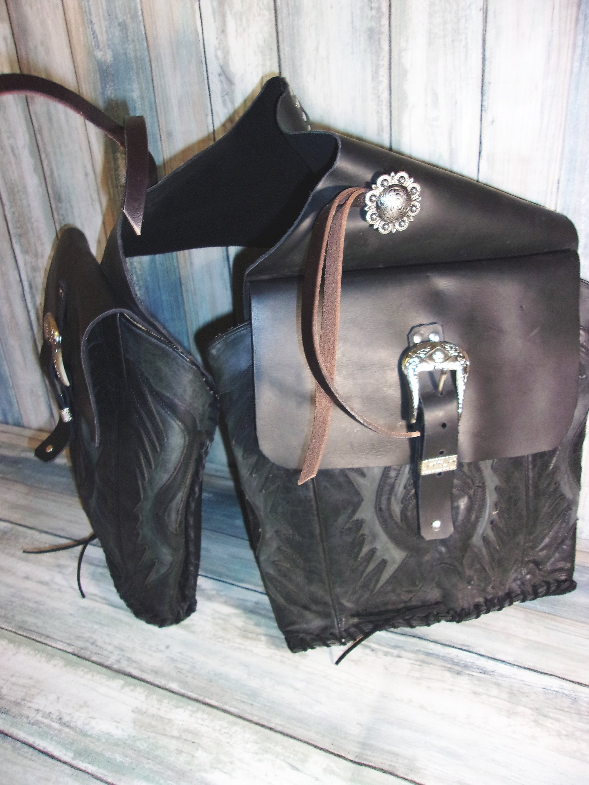 Black on Black Saddle-Bags - Distinctive Western Handbags, Purses and Totes
