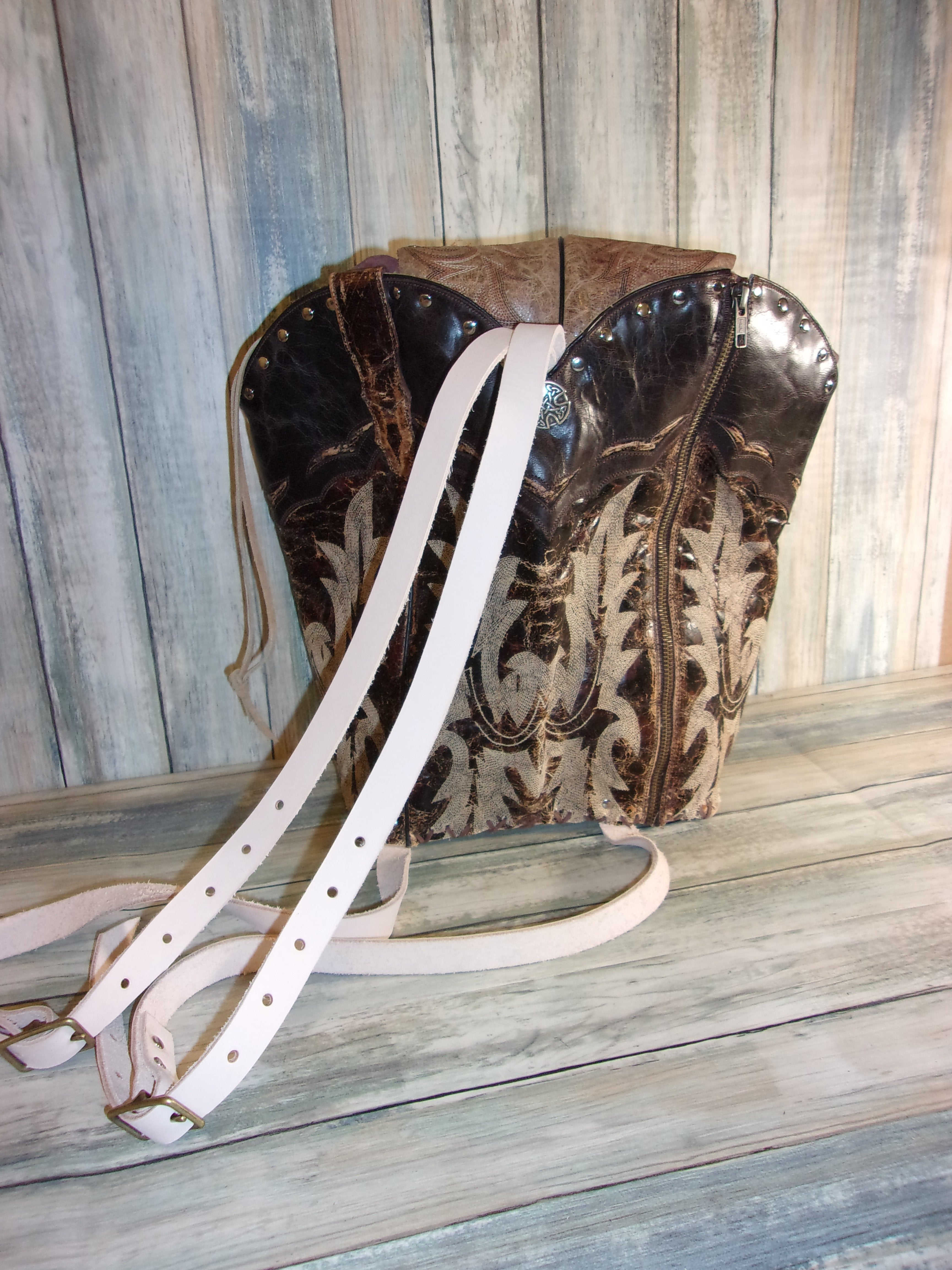 Brown and Tan Backpack - Western Backpack - Western Ruffsack - handcrafted handbags - cowboy boot purses - western purses - western handbags - western conceal carry purses - unique swing arm bags - Chris Thompson Bags
