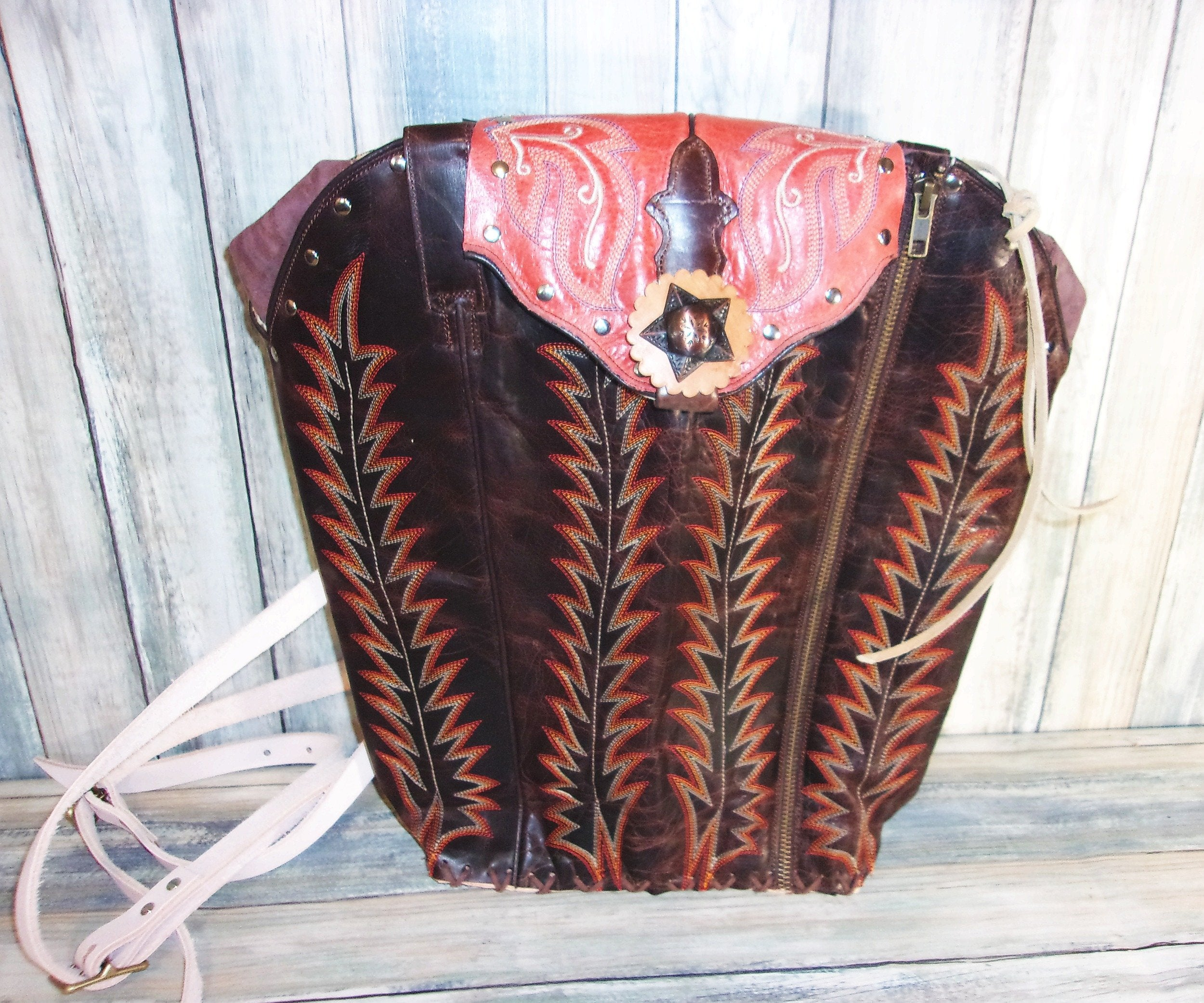 Brown and Orange Backpack - Western Backpack - Western Ruffsack - handcrafted handbags - cowboy boot purses - western purses - western handbags - western conceal carry purses - unique swing arm bags - Chris Thompson Bags