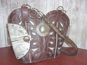 Western Concealed Carry Purse - CC Purse - Western Gun Purse - Handcrafted Conceal Carry Purse - Cowboy Boot Purse CB60 cowboy boot purses, western fringe purse, handmade leather purses, boot purse, handmade western purse, custom leather handbags Chris Thompson Bags