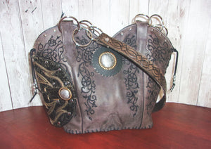 Western Concealed Carry Purse - CC Purse - Western Gun Purse - Handcrafted Conceal Carry Purse - Cowboy Boot Purse CB64 cowboy boot purses, western fringe purse, handmade leather purses, boot purse, handmade western purse, custom leather handbags Chris Thompson Bags