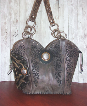 Concealed Carry Cowboy Boot Purse CB64 - handcrafted handbags - cowboy boot purses - western purses - western handbags - western conceal carry purses - unique swing arm bags - Chris Thompson Bags