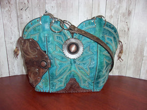 Concealed Carry Cowboy Boot Purse CB65 - handcrafted handbags - cowboy boot purses - western purses - western handbags - western conceal carry purses - unique swing arm bags - Chris Thompson Bags