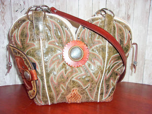 Concealed Carry Cowboy Boot Purse CB69 - handcrafted handbags - cowboy boot purses - western purses - western handbags - western conceal carry purses - unique swing arm bags - Chris Thompson Bags