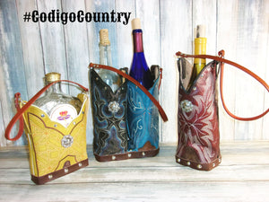 Cowboy Boot Wine and Whiskey Totes - Handcrafted cowboy boot purses, western fringe purse, handmade leather purses, boot purse, handmade western purse, custom leather handbags Chris Thompson Bags