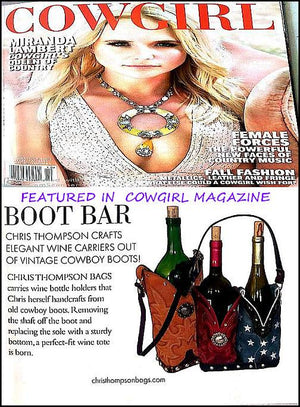 WT546 Cowboy Boot Leather Wine Tote - Cowboy Boot Purses by Chris Thompson for Distinctive Western Fashion