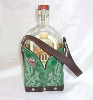 Leather Whiskey Tote CR41 - Cowboy Boot Purses by Chris Thompson for Distinctive Western Fashion