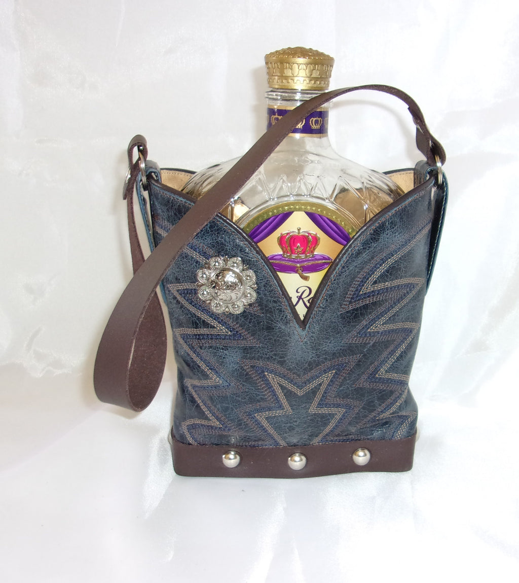Leather Whiskey Tote CR52 - Cowboy Boot Purses by Chris Thompson for Distinctive Western Fashion