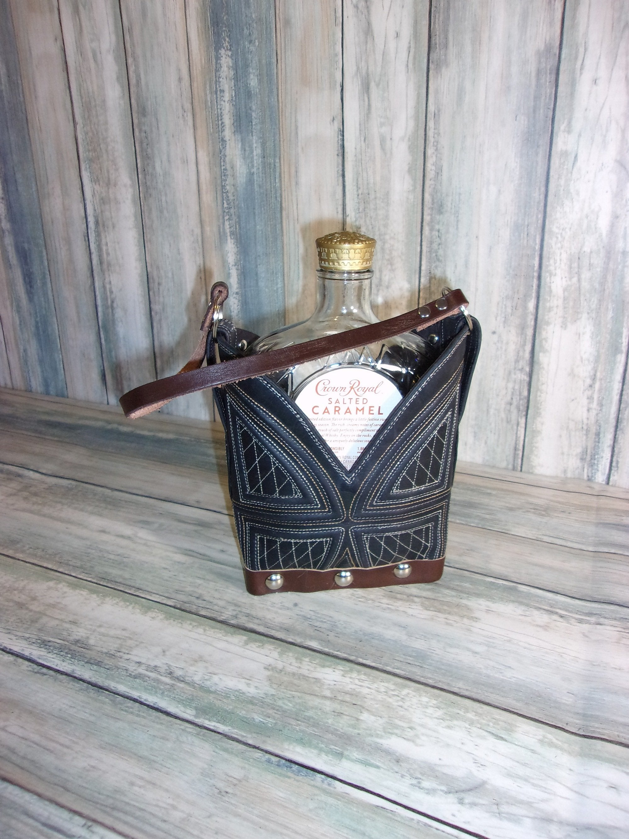 Whiskey Tote Bag - Leather Whiskey Tote - Whiskey Lover Gift - Whiskey Caddy CR80 cowboy boot purses, western fringe purse, handmade leather purses, boot purse, handmade western purse, custom leather handbags Chris Thompson Bags