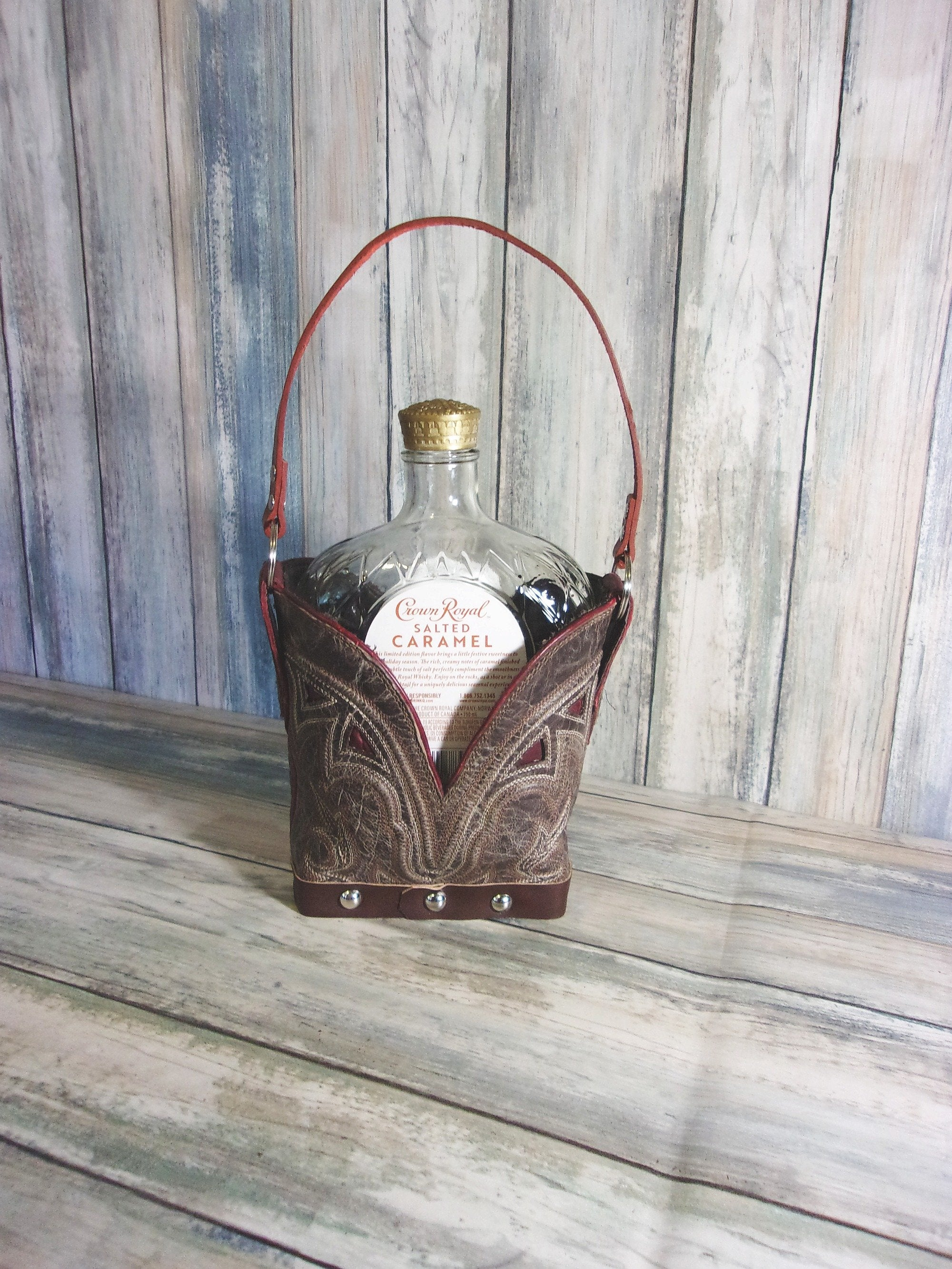 Whiskey Tote Bag - Leather Whiskey Tote - Whiskey Lover Gift - Whiskey Caddy CR81.2 cowboy boot purses, western fringe purse, handmade leather purses, boot purse, handmade western purse, custom leather handbags Chris Thompson Bags