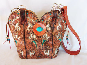 Cowboy Boot Purse - Handcrafted Western Handbag - Leather Western Purse DB300 cowboy boot purses and handcrafted western purses and handbags Chris Thompson Bags