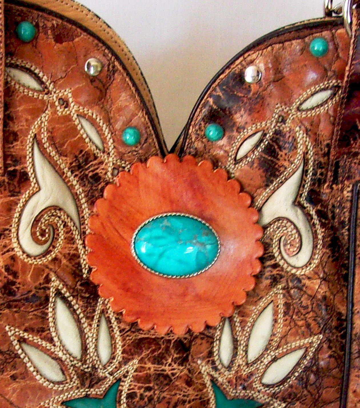 Unique Leather Western Handbag Cowboy Boot Purse DB300