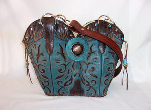 Cowboy Boot Purse - Western Leather Purse – Handmade Leather Purse - DB306 cowboy boot purses, western fringe purse, handmade leather purses, boot purse, handmade western purse, custom leather handbags Chris Thompson Bags